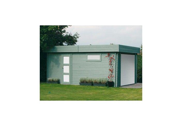 Garage madriers 40 mm porte motorisée