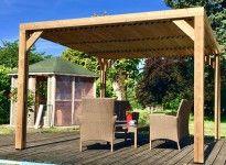 Pergola bois thermo traité toit plat avec ventelles orientables
