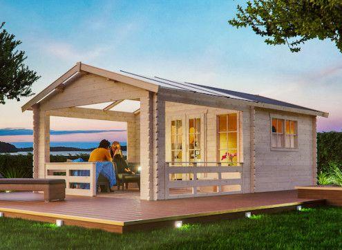 Abri bois 45 mm + auvent toit soleil