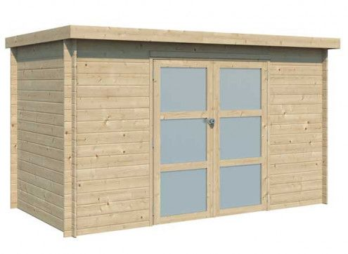 Abri bois cubique 6m2 avec porte vitrée en plexiglass mat