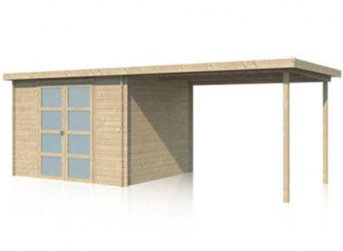 Abri bois brut combiné avec toiture acier 15m2