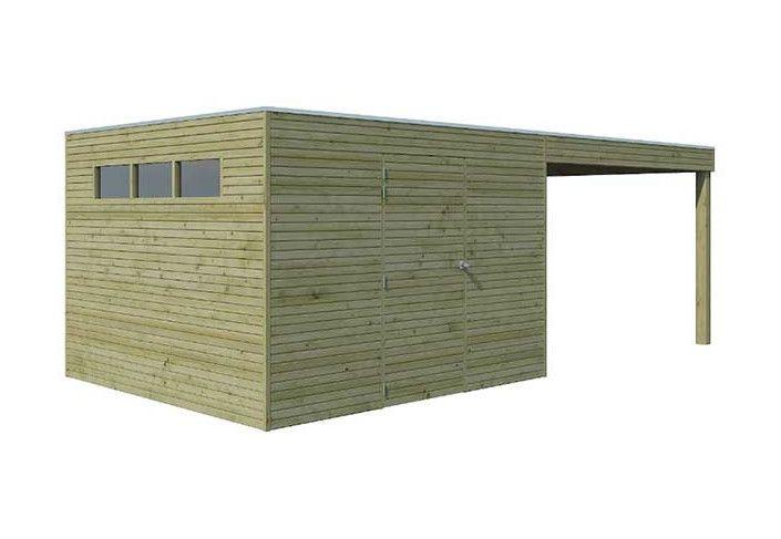 Abri combiné bois traité 18 m2
