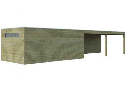 Abri combiné bois traité 33m2