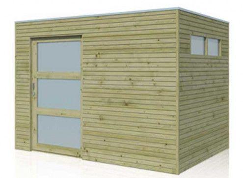 Abri de jardin bois traité avec porte coulissante - 6m2