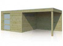 Abri de jardin combiné en bois traité avec porte coulissante 18m2