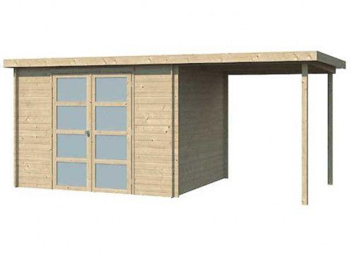 Abri bois toit plat acier avec extension couverte latérale 13m2