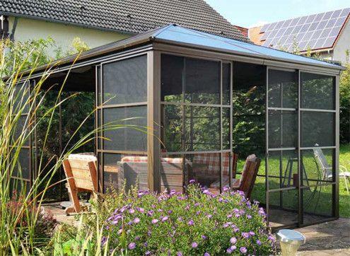 Pavillon alu panneaux moustiquaires 15 m2