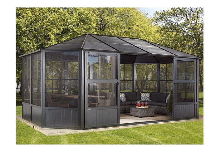 Pavillon alu octogonal avec parois vinyl 22 m2