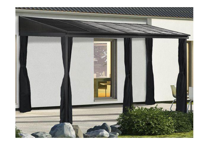 Pergola toit acier avec rideaux 15 m2