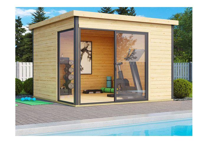 Abri bois baie vitrée alu 9m2