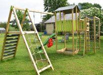 Aire de jeux en bois toboggan