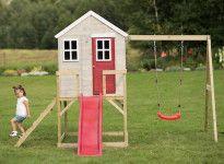 Cabane enfant avec toboggan et balançoire