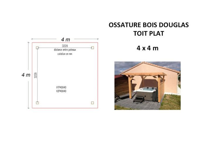 OSSATURE DOUGLAS TOIT PLAT 16m2