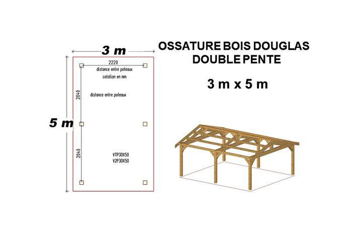 OSSATURE DOUGLAS DEUX PENTES SYMÉTRIQUES 12m2