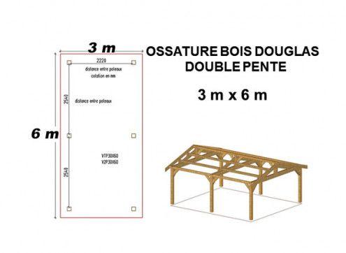 OSSATURE DOUGLAS MONO-PENTE 18m2