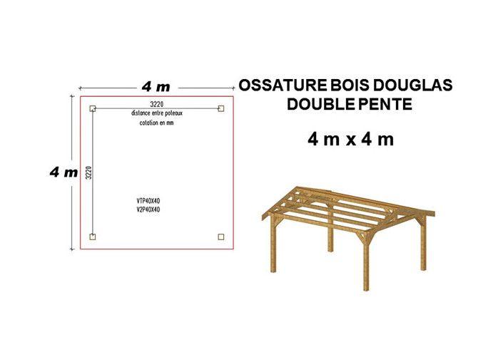 OSSATURE DOUGLAS DOUBLE PENTE SYMÉTRIQUES 18m2