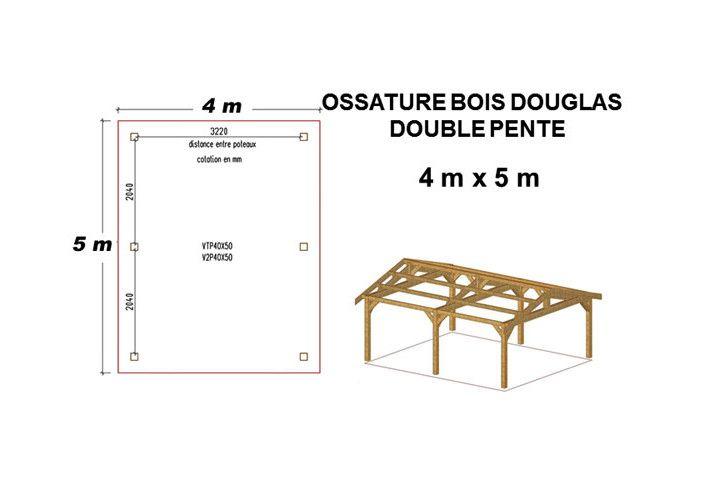 OSSATURE DOUGLAS DOUBLE PENTES SYMÉTRIQUES 20m2