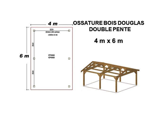OSSATURE DOUGLAS DEUX PENTES SYMÉTRIQUES 24m2