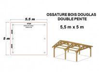 OSSATURE DOUGLAS DOUBLE PENTES SYMÉTRIQUES 27.5m2