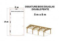 OSSATURE DOUGLAS DOUBLE PENTES ASYMÉTRIQUES 40m2