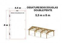 OSSATURE BOIS DOUGLAS DEUX PENTES SYMÉTRIQUES 44m2