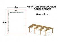 OSSATURE MOISEE BOIS DOUGLAS DEUX PENTES SYMÉTRIQUES 48m2