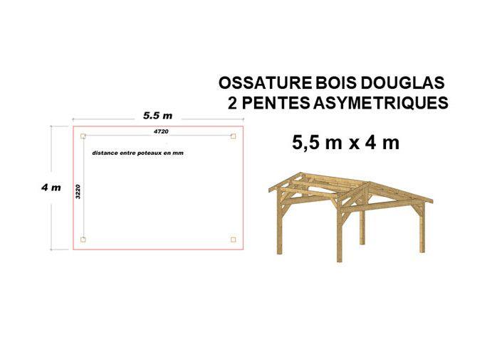 OSSATURE DOUGLAS DEUX PENTES ASYMÉTRIQUES 22m2