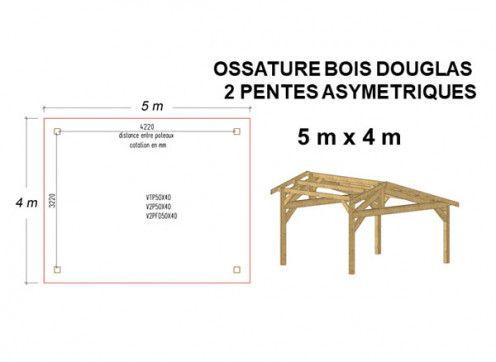 OSSATURE DOUGLAS DEUX PENTES ASYMÉTRIQUES 20m2