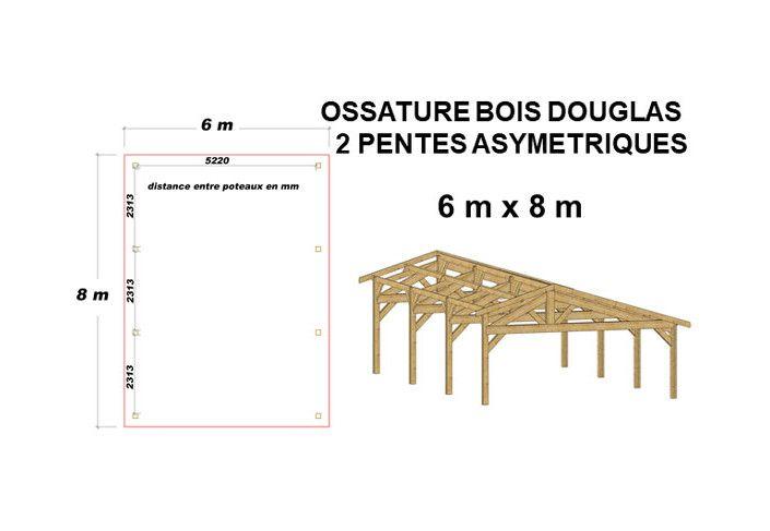OSSATURE DOUGLAS DEUX PENTES SYMÉTRIQUES 48m2