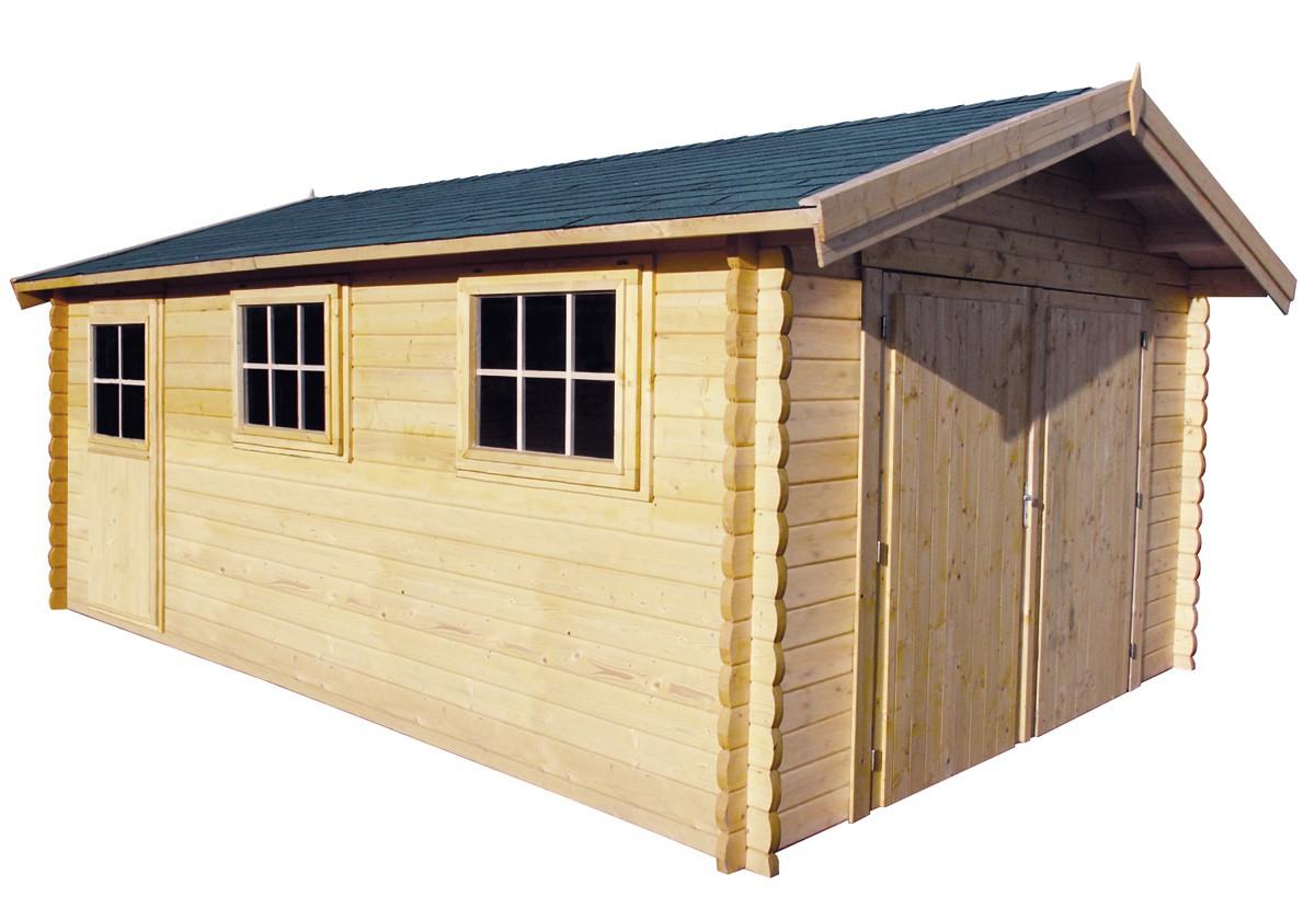 Abri De Jardin En Pin Douglas garage en madriers bois 44 mm, abri de jardin en kit