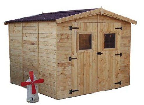 abri jardin bois 16 mm toit 2 pentes