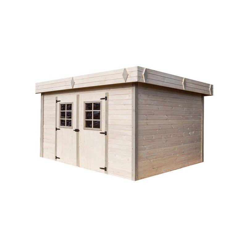 Chalet de jardin en madrier bois brut 28mm - Abri jardin bois toit plat ...