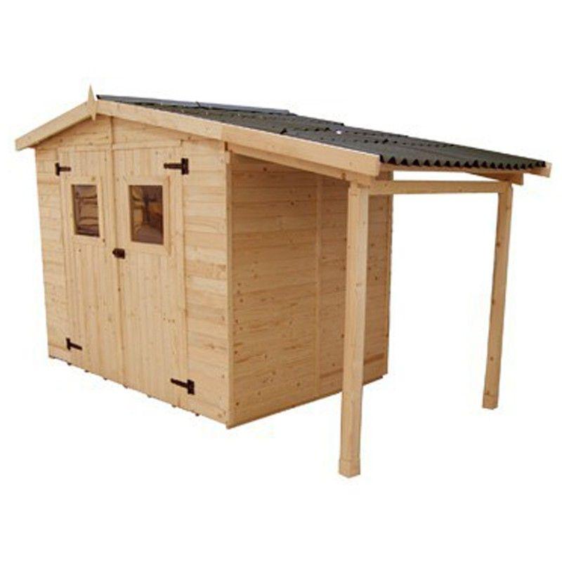 Abri de jardin en bois 16 mm avec auvent b cher - Abri de jardin avec extension ...