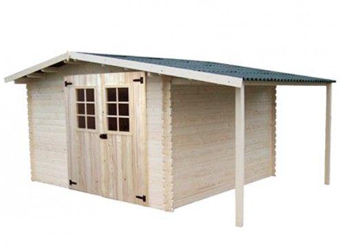 abri de jardin bois + bûcher 28 mm