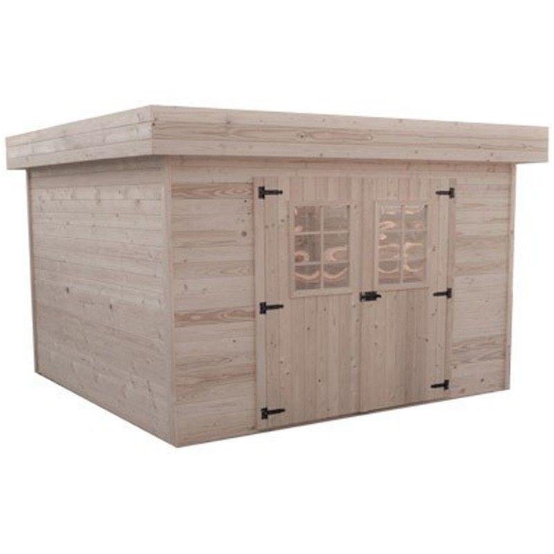 abri de jardin bois 28 mm toit plat. Black Bedroom Furniture Sets. Home Design Ideas