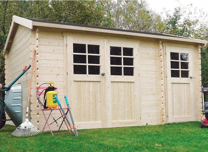 abri jardin bois brut 28 mm