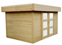 abri jardin bois 28 mm porte double coulissante