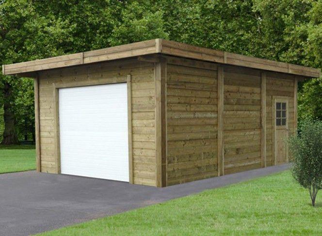 Garage en bois traité avec double entrée 35 m²