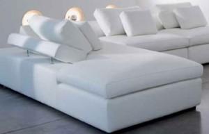 Canapé cuir, tissu, microfibre