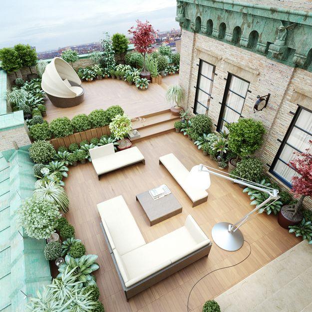 Comment am nager son toit terrasse blog ma maison mon for Jardin avec arbustes