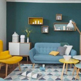 Mobilier vintage jaune et bleu