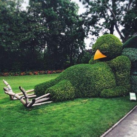 Un animal endormi taillé dans un buisson géant