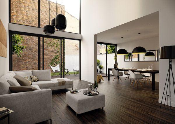 Salon et cuisine au design mdoerne