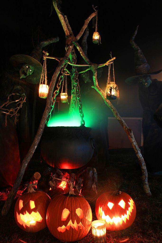 Chaudron sorcière citrouilles Halloween