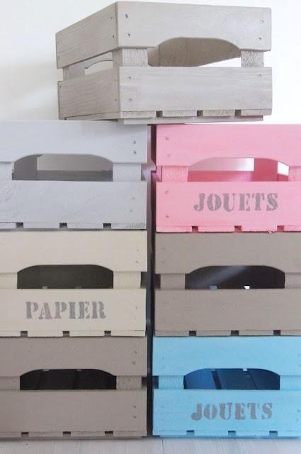 caisses bois rangement jouets papier