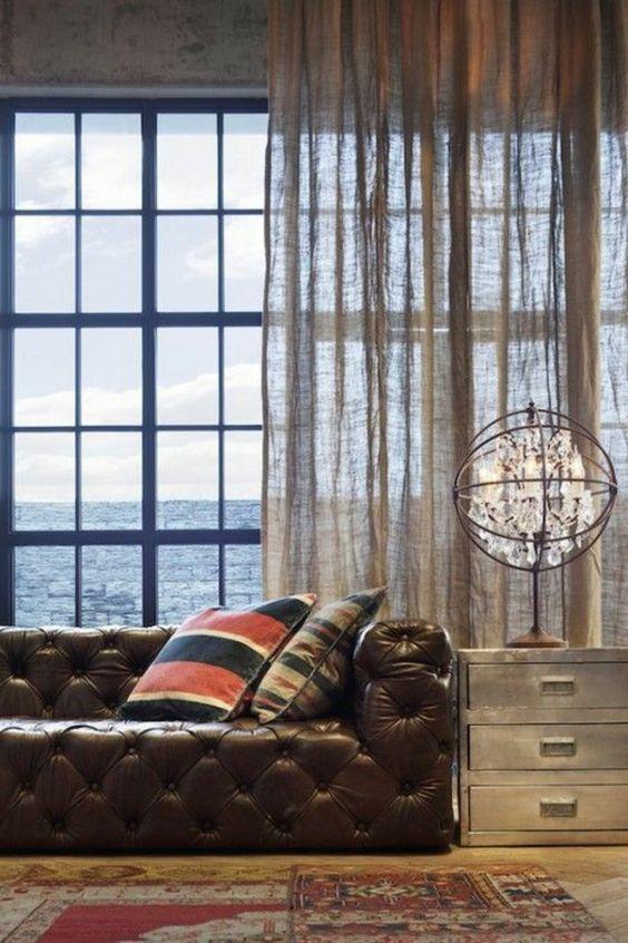 rideau en lin transparent style cocon
