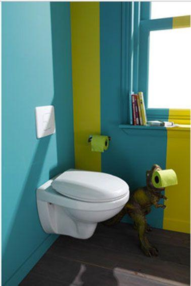 Toilettes vert et bleu dinosaure garçon WC
