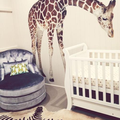 Chambre Bébé Savane Girafe Sticker Zèbre Tapis