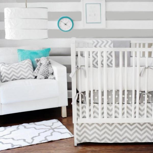 chambre bébé bleu gris mixte chevrons