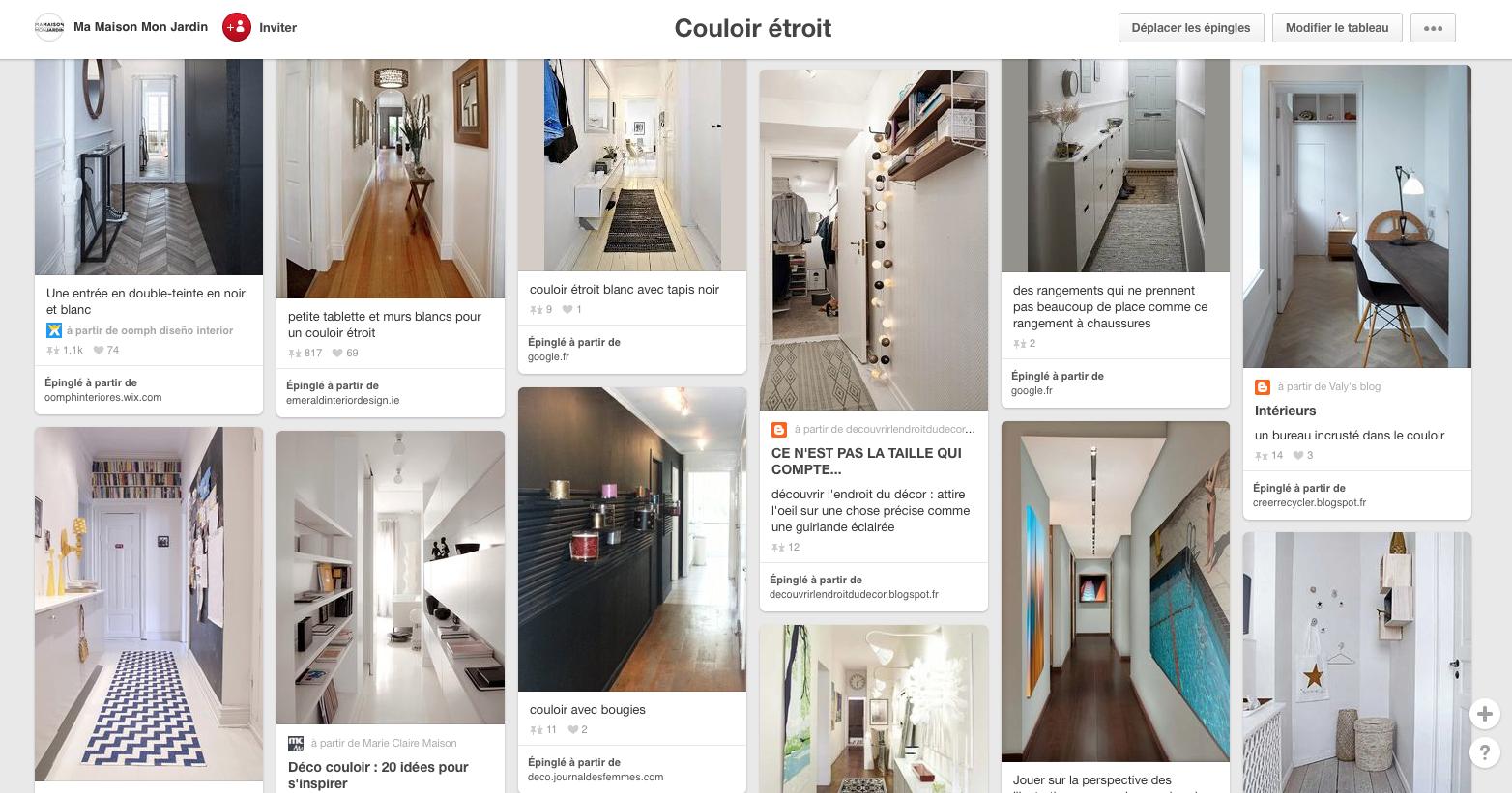 tableau Pinterest regroupant des dizaines de photos de couloirs